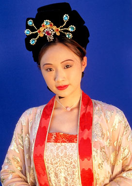 A woman in Tang Dynasty costume