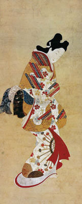 Courtesan Wearing Flowered Kimono