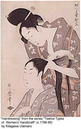 'Hairdressing' from 'Twelve Types of Women's Handicraft' by Kitagawa Utamaro